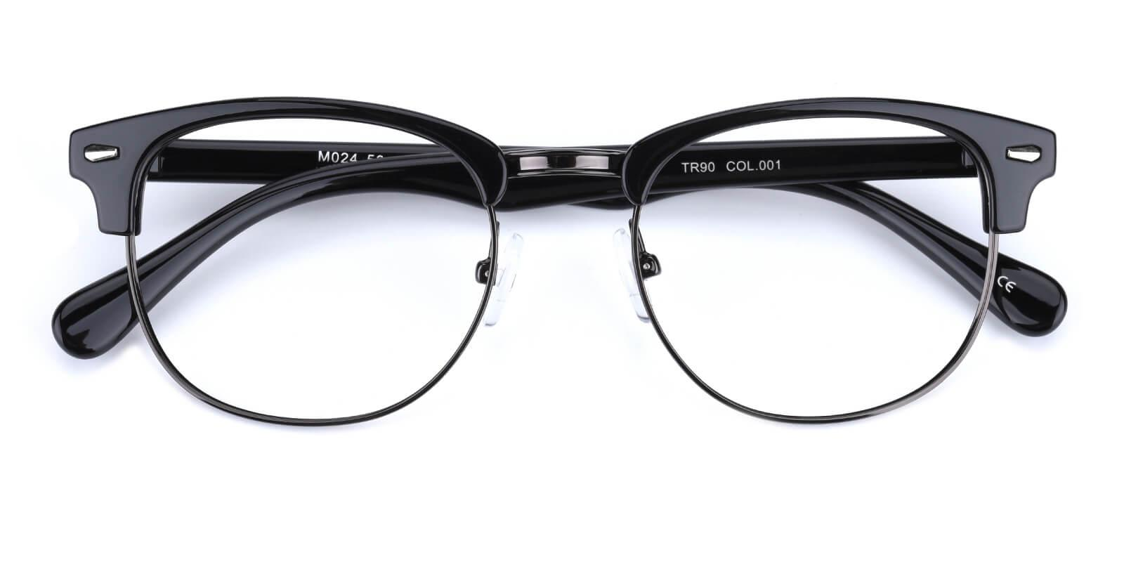 Ferrous-Black-Browline-Combination / Metal / Plastic-Eyeglasses-detail