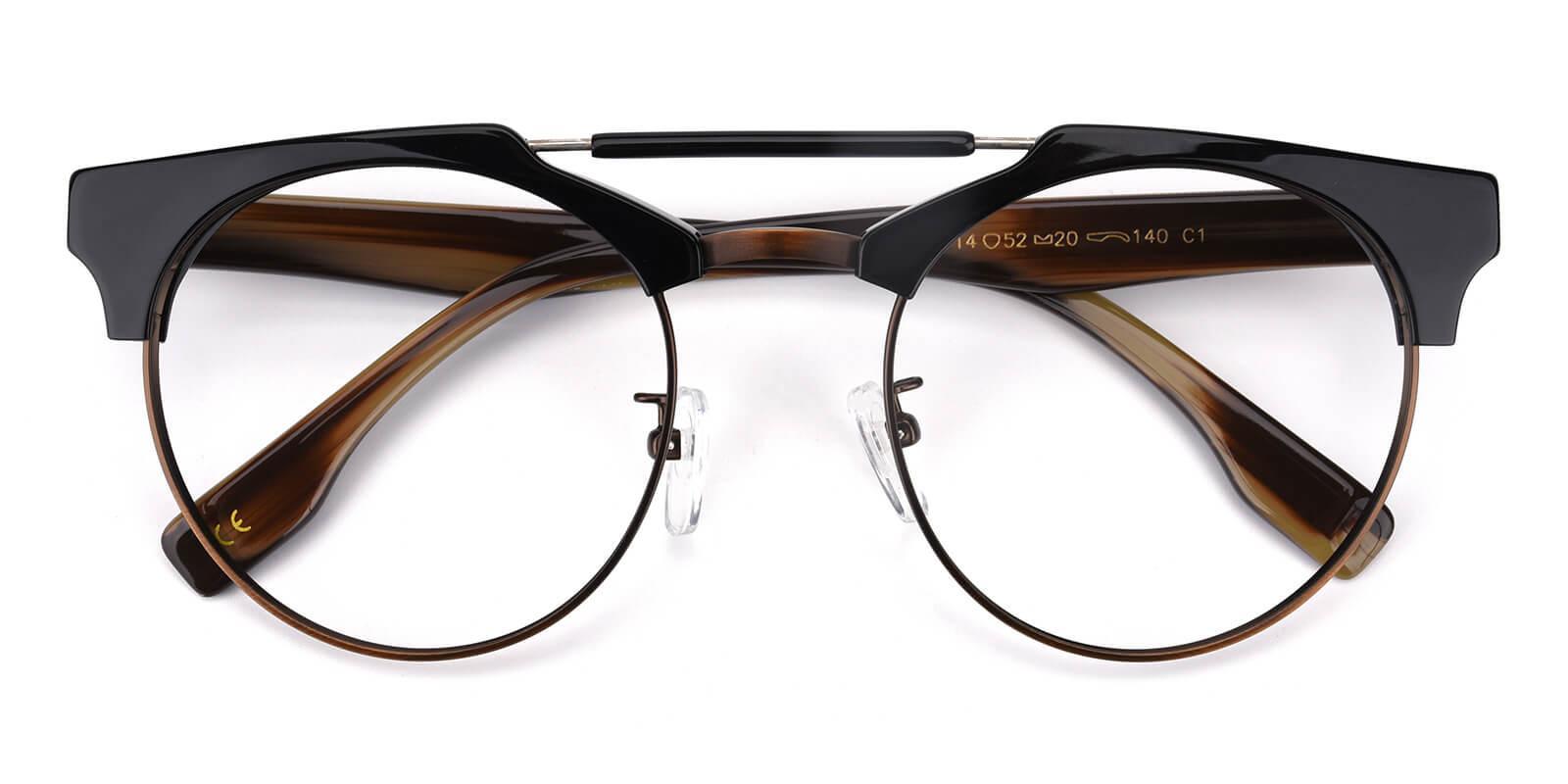 Ombama-Brown-Browline-Combination-Eyeglasses-detail